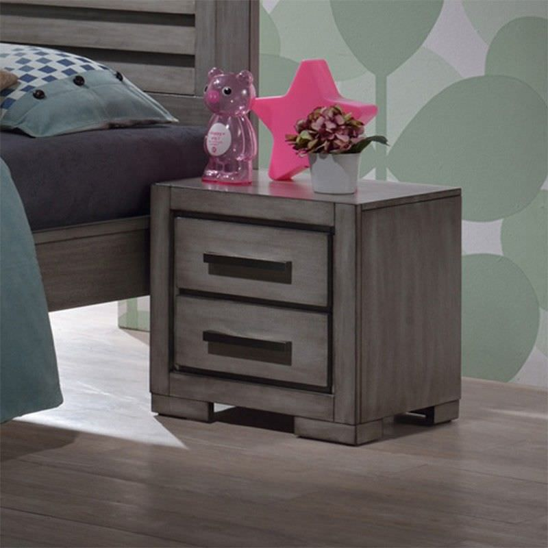 Basha Hardwood  Bedside Table, Small, Elephant Grey