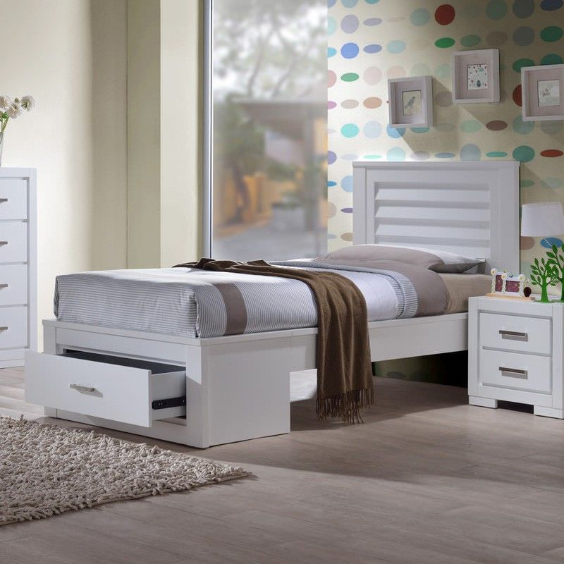 Blaise Rubber Wood Bed, King Single, White