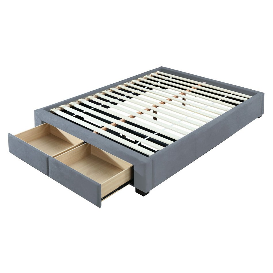 Derrington Linen Ensemble Bed Base with End Drawers, King, Grey