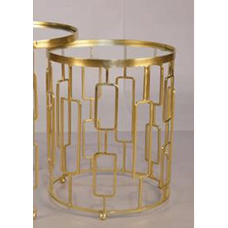 Kelsey Glass Top Iron Round Side Table