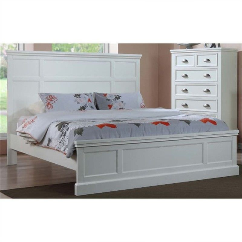 Maydena Solid Rubberwood Timber King Bed - White