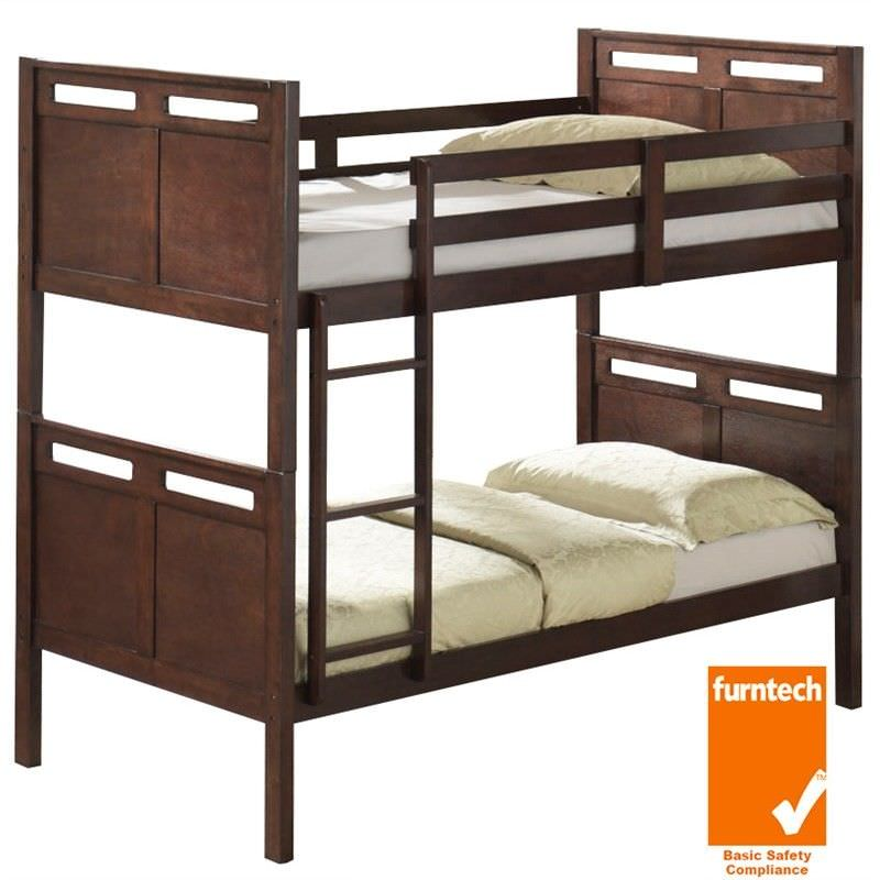 Ned Solid Timber Single Bunk Bed - Chocolate