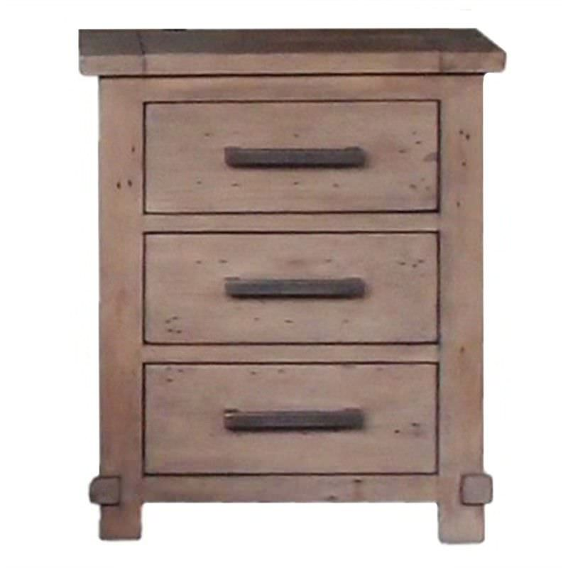 Mimosa Recycled Pine Timber 3 Drawer Bedside Table