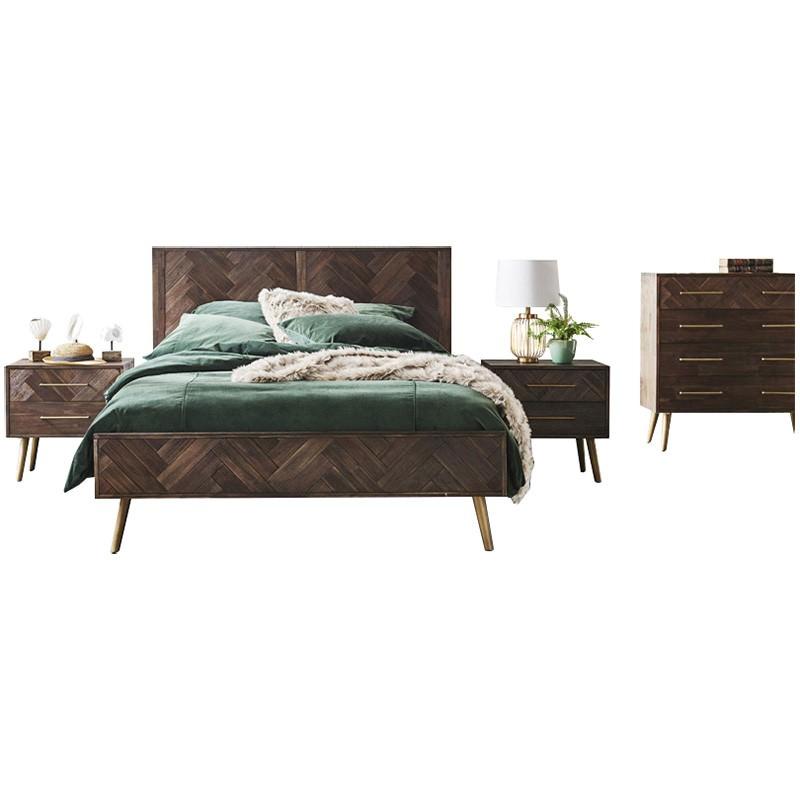 Serena 4 Piece Acacia Timber Bedroom Tallboy Suite, Queen