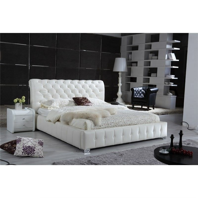 Sophrona Bonded Leather Gaslift Queen Bed - White
