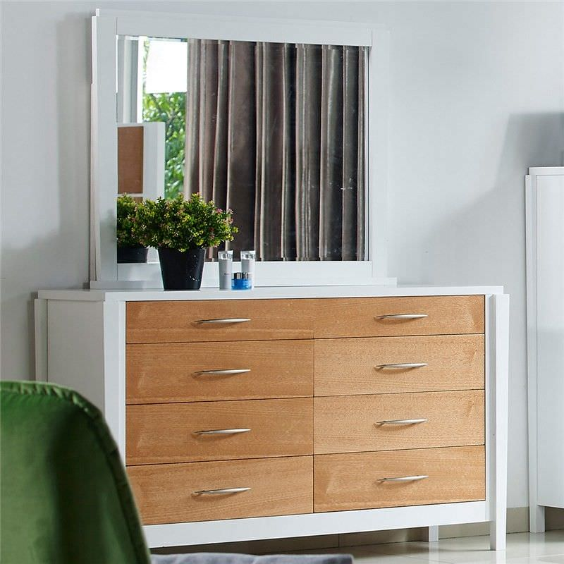 Savannah Solid American Poplar Timber Dressing Table with Mirror