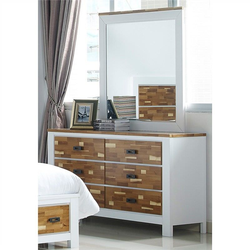 Valina Solid American Poplar Timber Dressing Table with Mirror