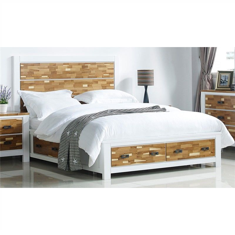 Valina Solid American Poplar Timber King Bed with 4 Drawers
