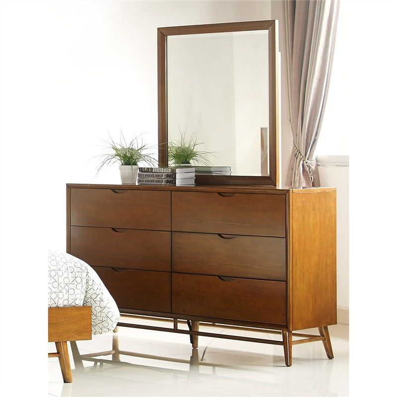 Betty Solid Timber 6 Drawer Dresser with Mirror