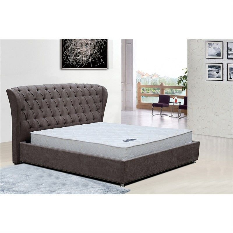Estancia Fabric Upholstered King Bed - Brown