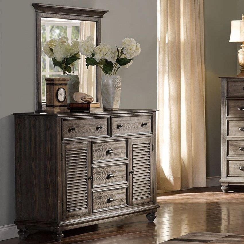 California Solid Timber 2 Door 5 Drawer Dresser with Mirror, Pewter