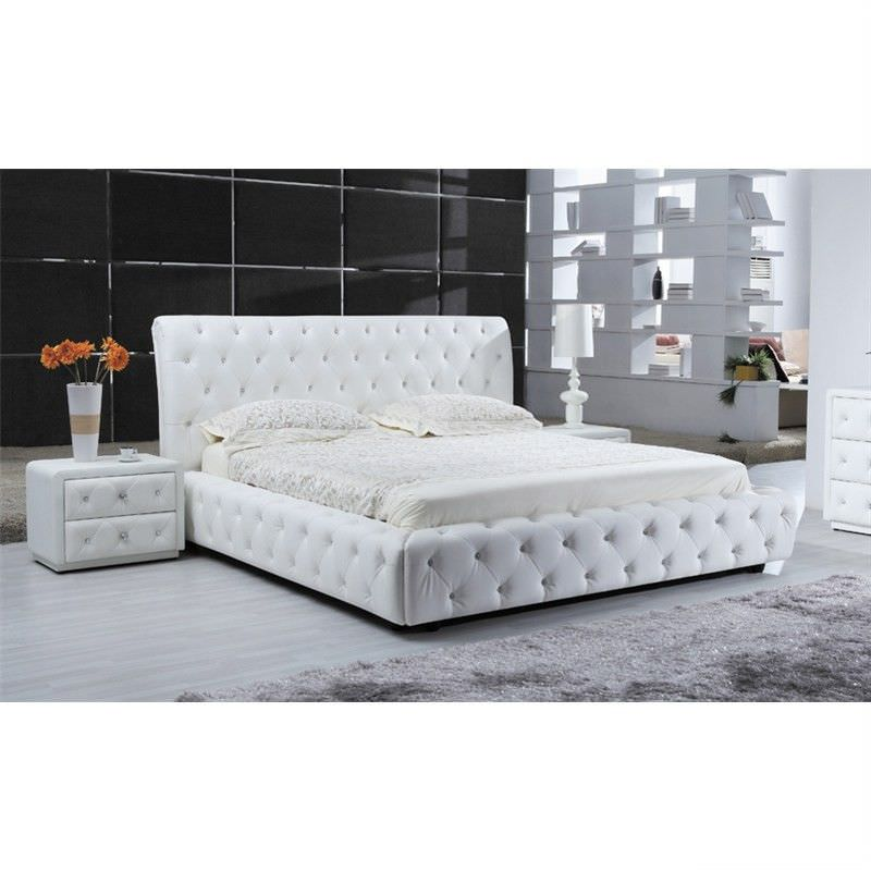Rosalind Bonded Leather Double Bed - White