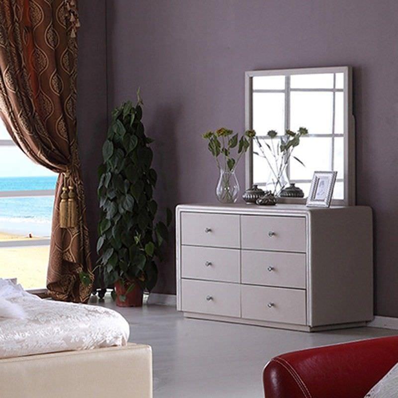 Regal Bonded Leather Dresser with Mirror - Beige