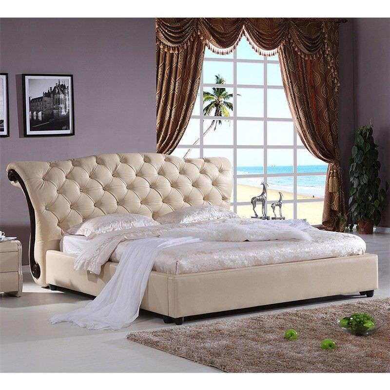 Regal Leather Queen Bed - Beige