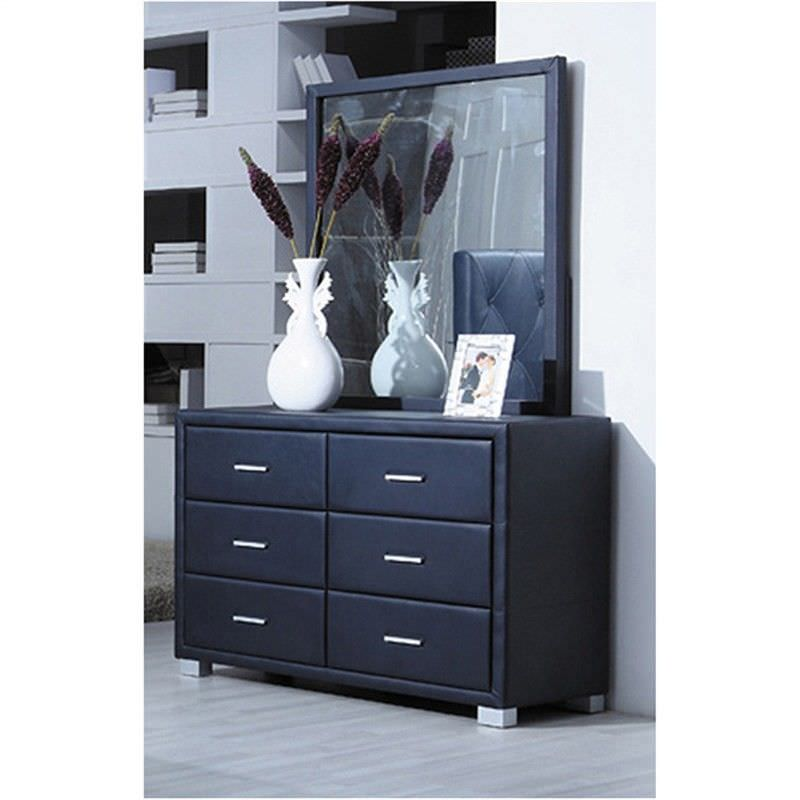 Blanco Bonded Leather 6 Drawer Dresser with Mirror - Black