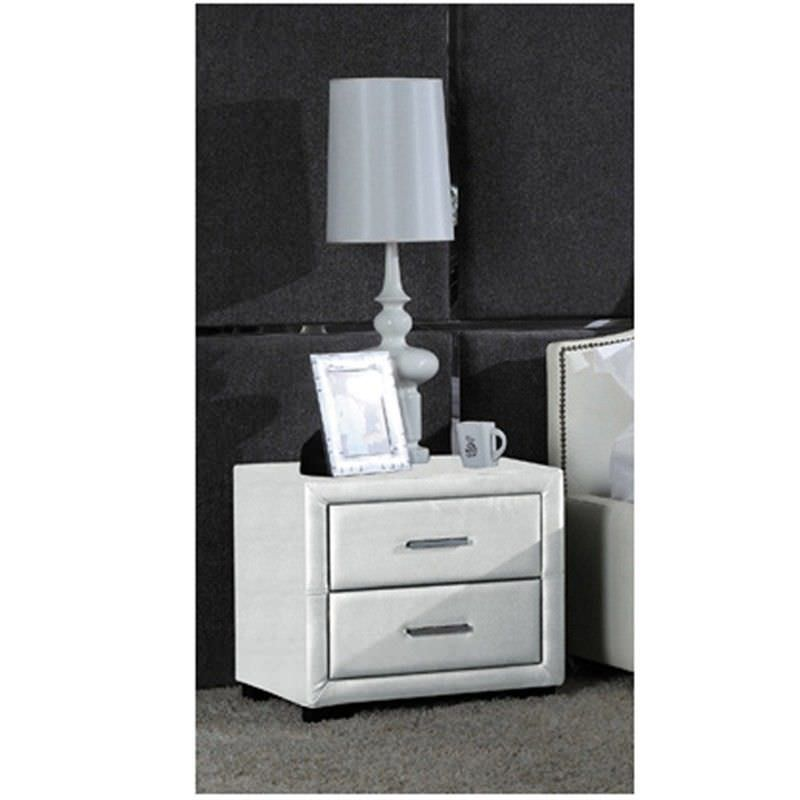 Blanco Bonded Leather 2 Drawer Bedside Table - White