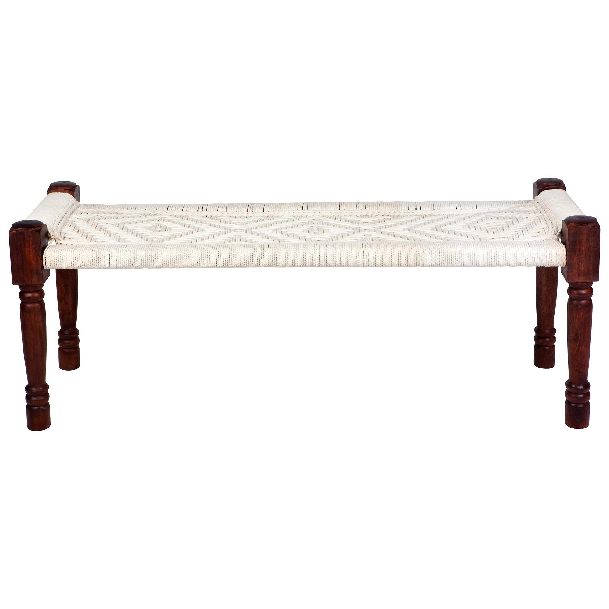 Atlas Cotton & Mango Wood Bench