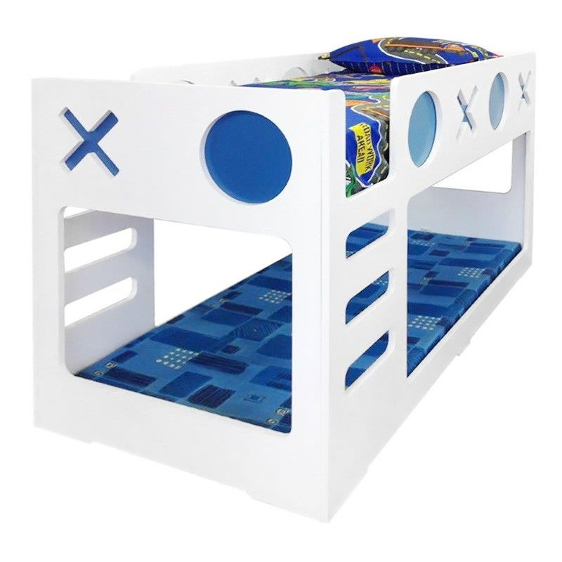 Tic Tac Toe Single Bunk Bed - White/Blue