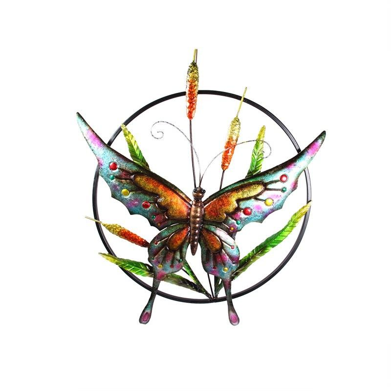 Coloured Metal Butterfly In Ring Wall Art