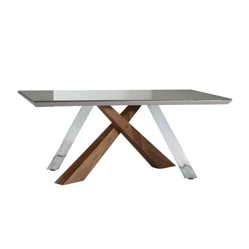 Zachary Glass Top Wood and Steel Leg 180cm Dining Table