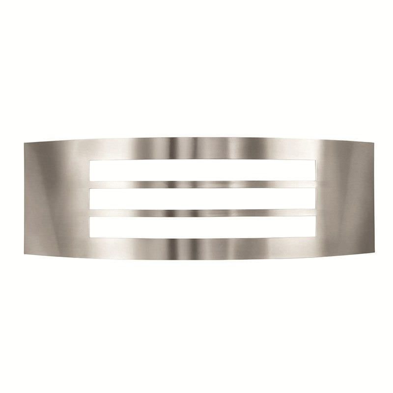Cairns Stainless Steel IP44 Exterior Curved Narrow Wall Light with Slotted Face Design