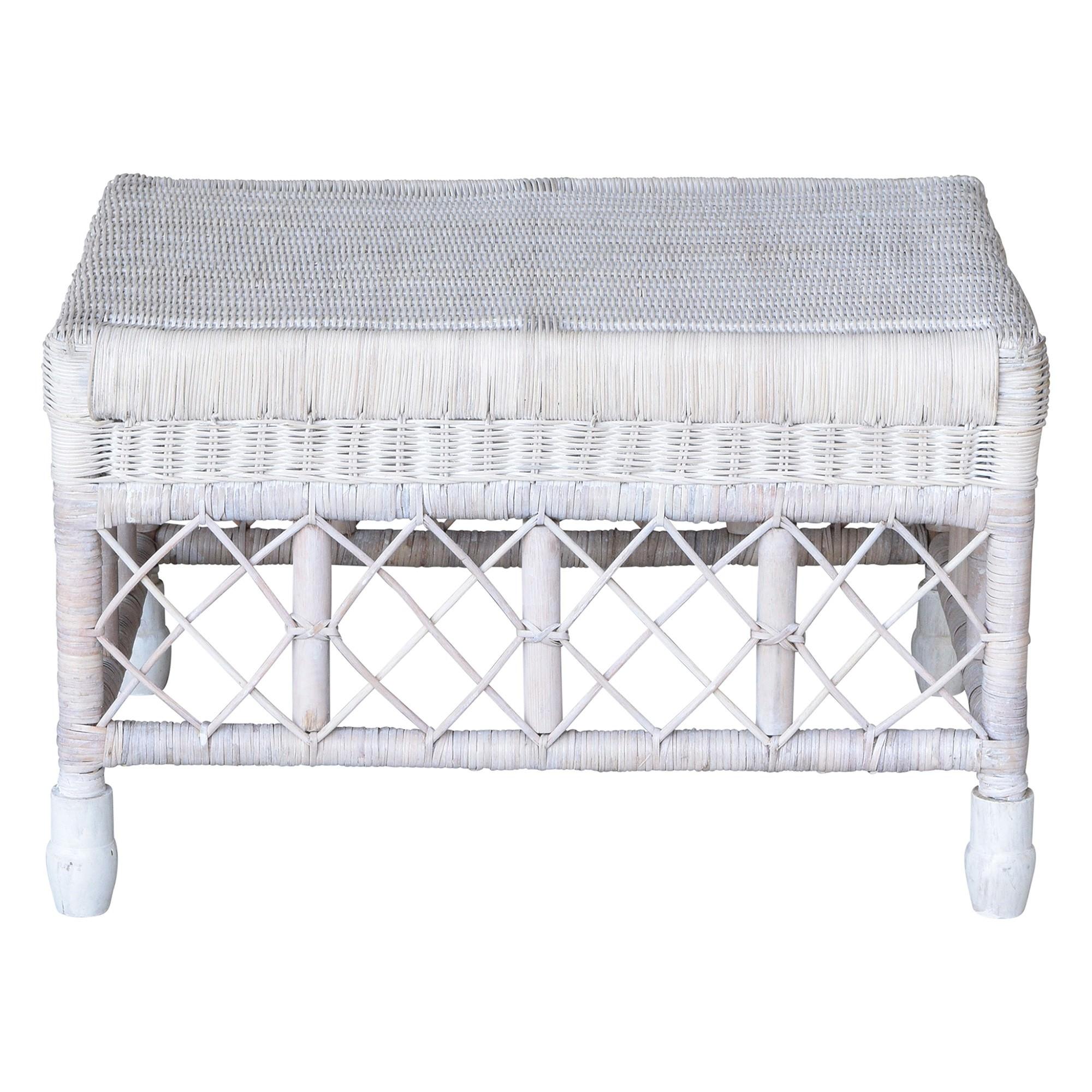 Savannah Lattice Rattan Ottoman / Footstool, White Wash