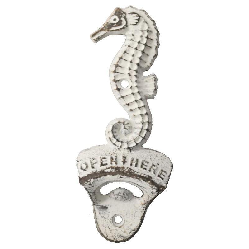 Cast Iron Seahorse Bottle Opener, Antique White