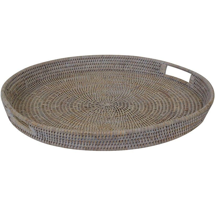 Savannah Rattan Tray, Round, Large, White Wash