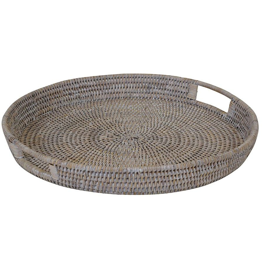 Savannah Rattan Tray, Round, Small, White Wash