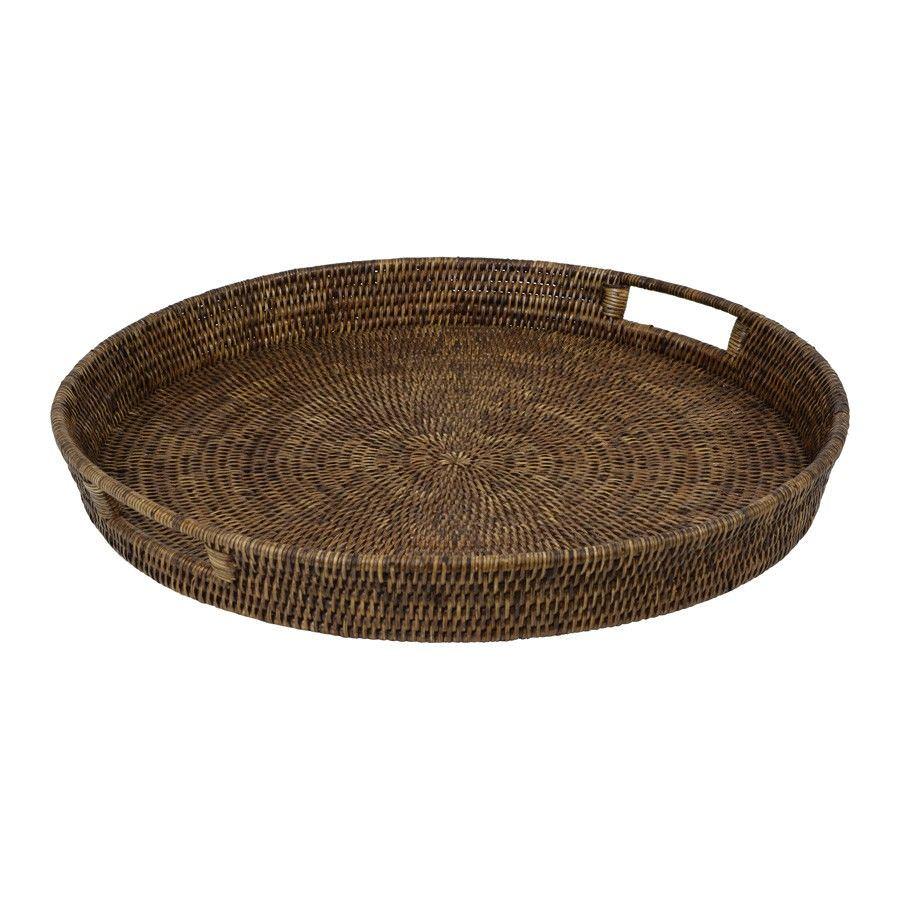 Savannah Rattan Tray, Round, Large, Tobacco