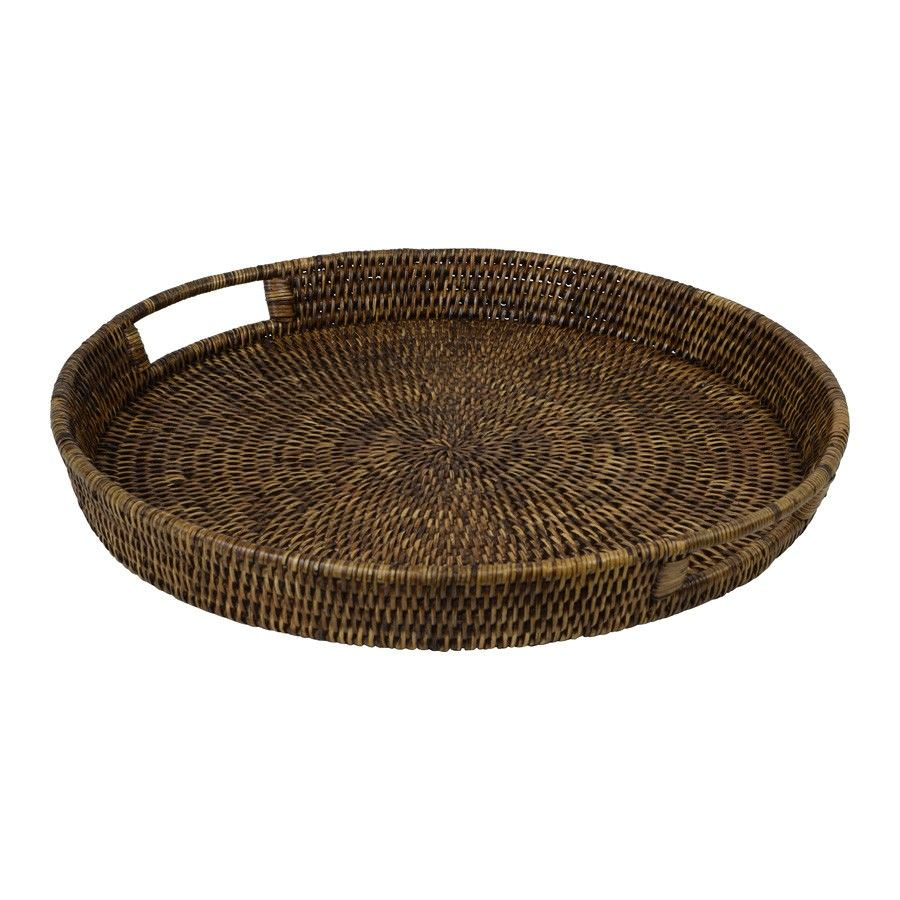Savannah Rattan Tray, Round, Small, Tobacco