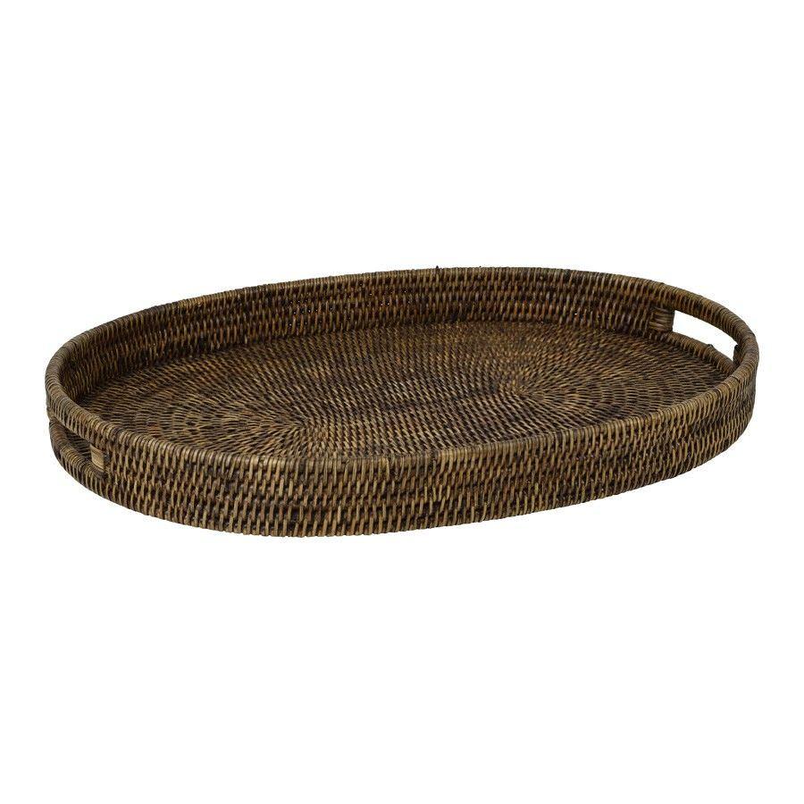 Savannah Rattan Tray, Oval, Large, Tobacco