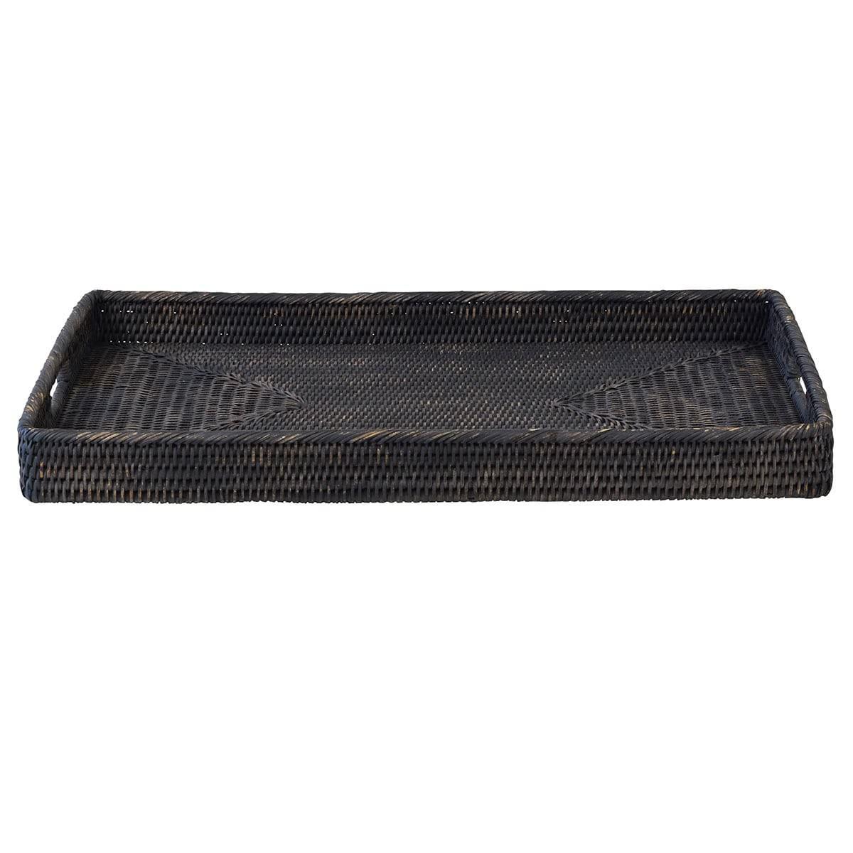 Savannah Rattan Tray, Rectangle, Large, Charcoal