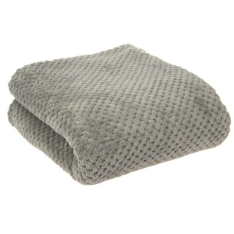 Diamond Fleece Single Size Blanket - Grey