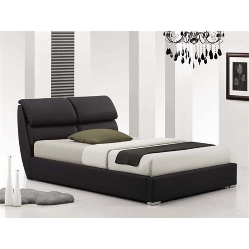 Italian Design Pedro Double Size PU Leather Bed in Black