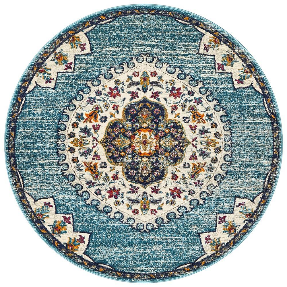 Babylon Chantilly Bohemian Round Rug, 200cm, Blue