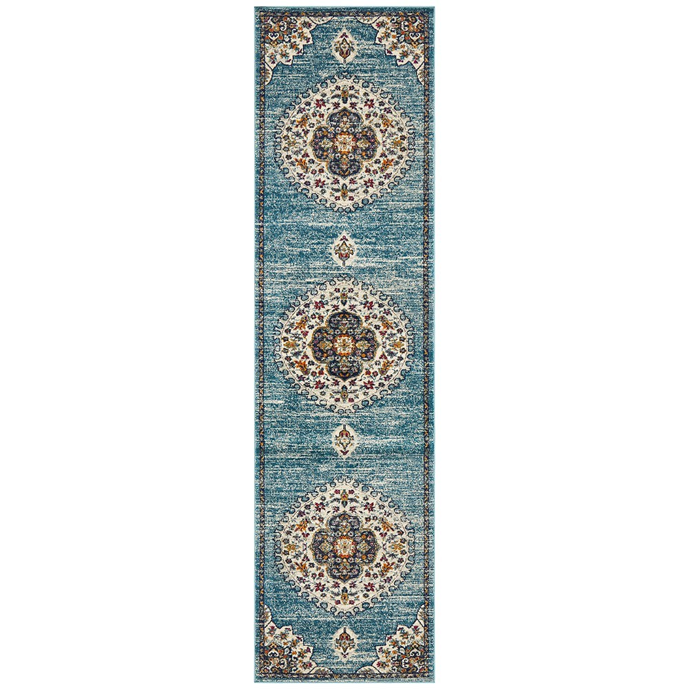 Babylon Chantilly Bohemian Runner Rug, 80x400cm, Blue