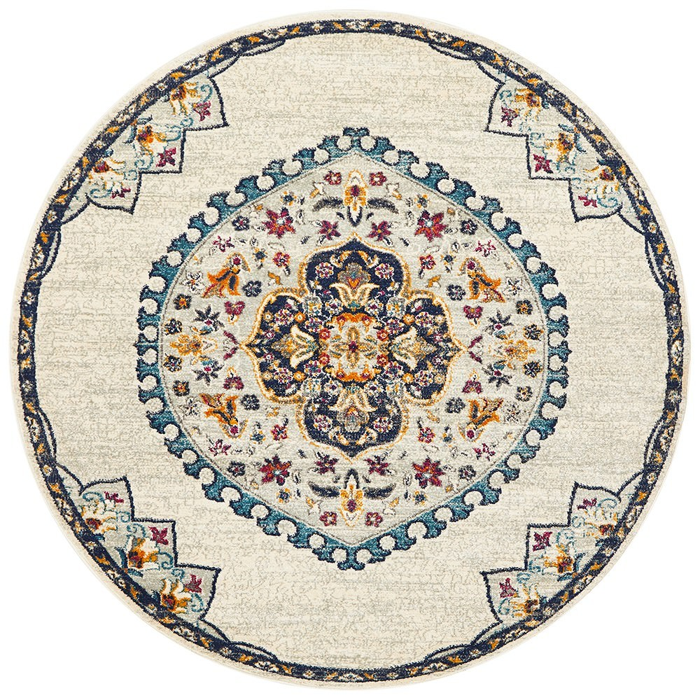 Babylon Chantilly Bohemian Round Rug, 150cm, White
