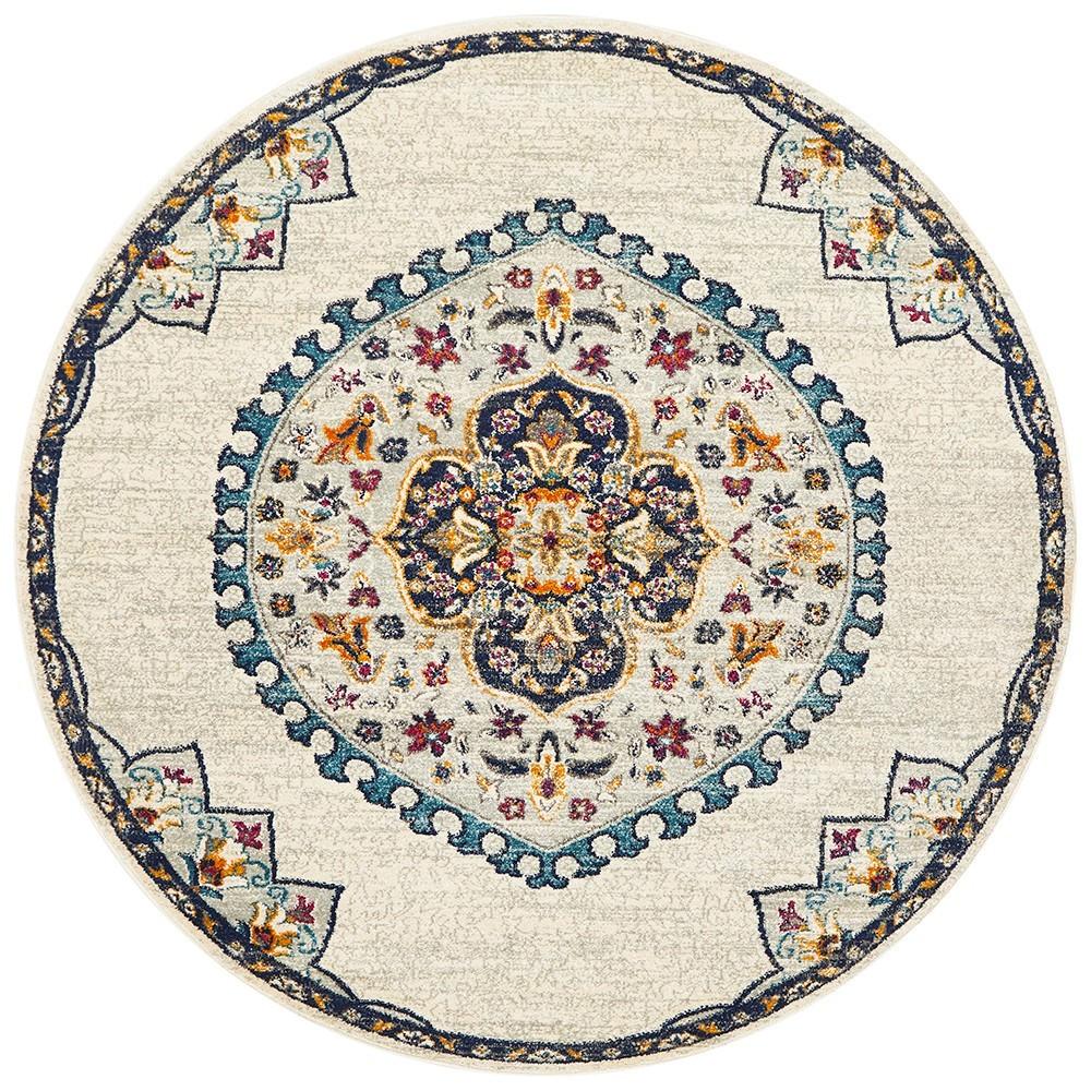 Babylon Chantilly Bohemian Round Rug, 200cm, White