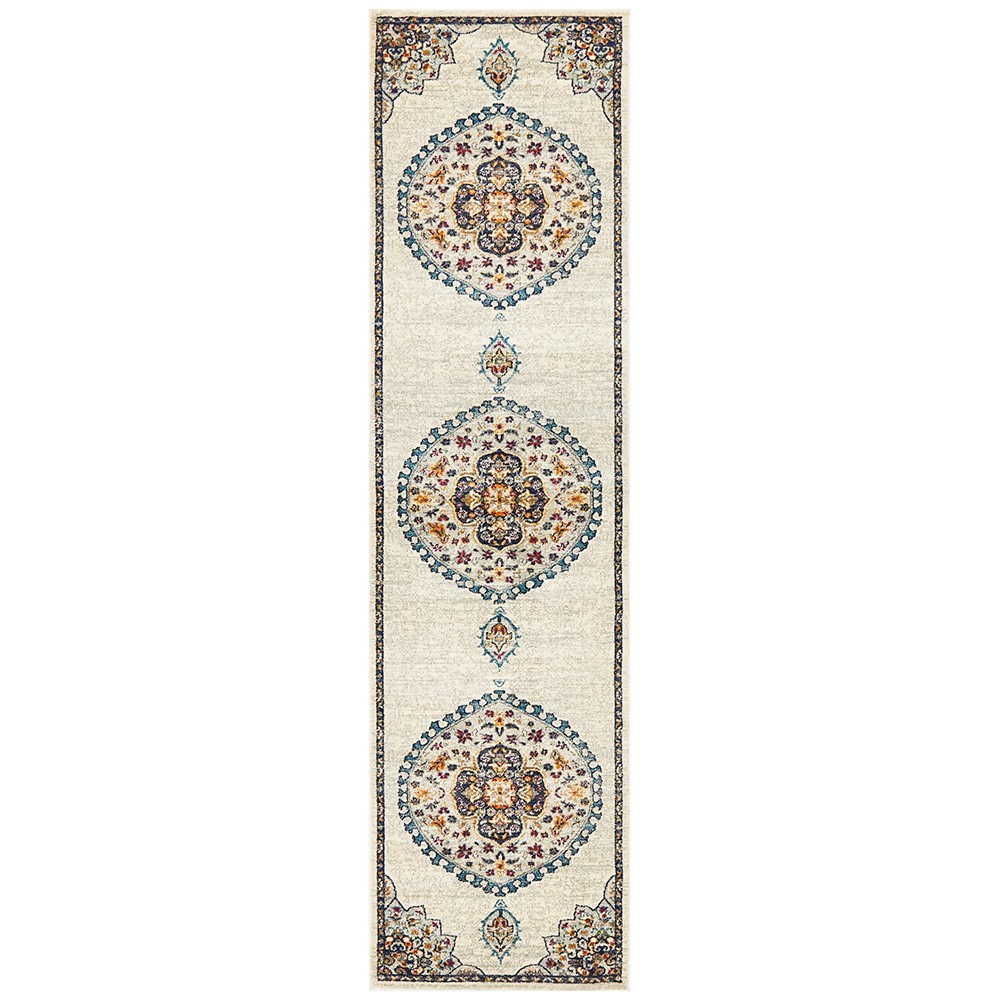 Babylon Chantilly Bohemian Runner Rug, 80x500cm, White