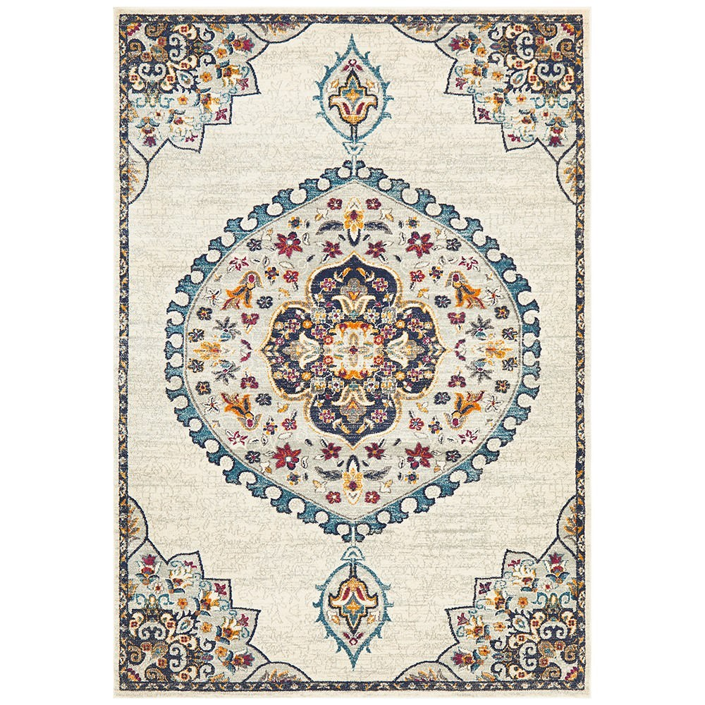 Babylon Chantilly Bohemian Rug, 200x290cm, White
