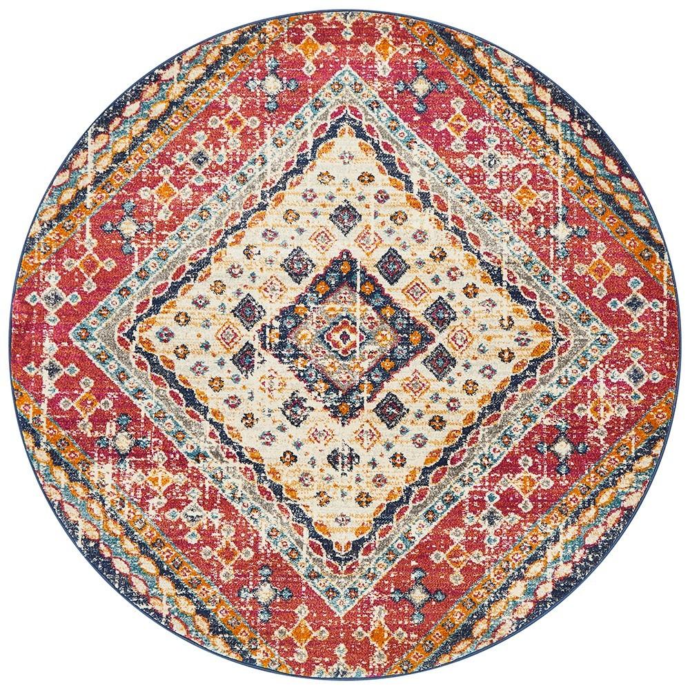 Babylon Diamond Bohemian Round Rug, 240cm, Multi