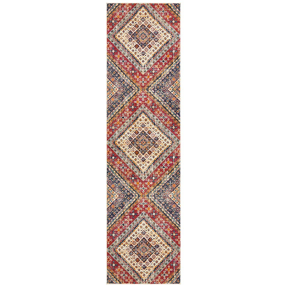 Babylon Diamond Bohemian Runner Rug, 80x300cm, Multi