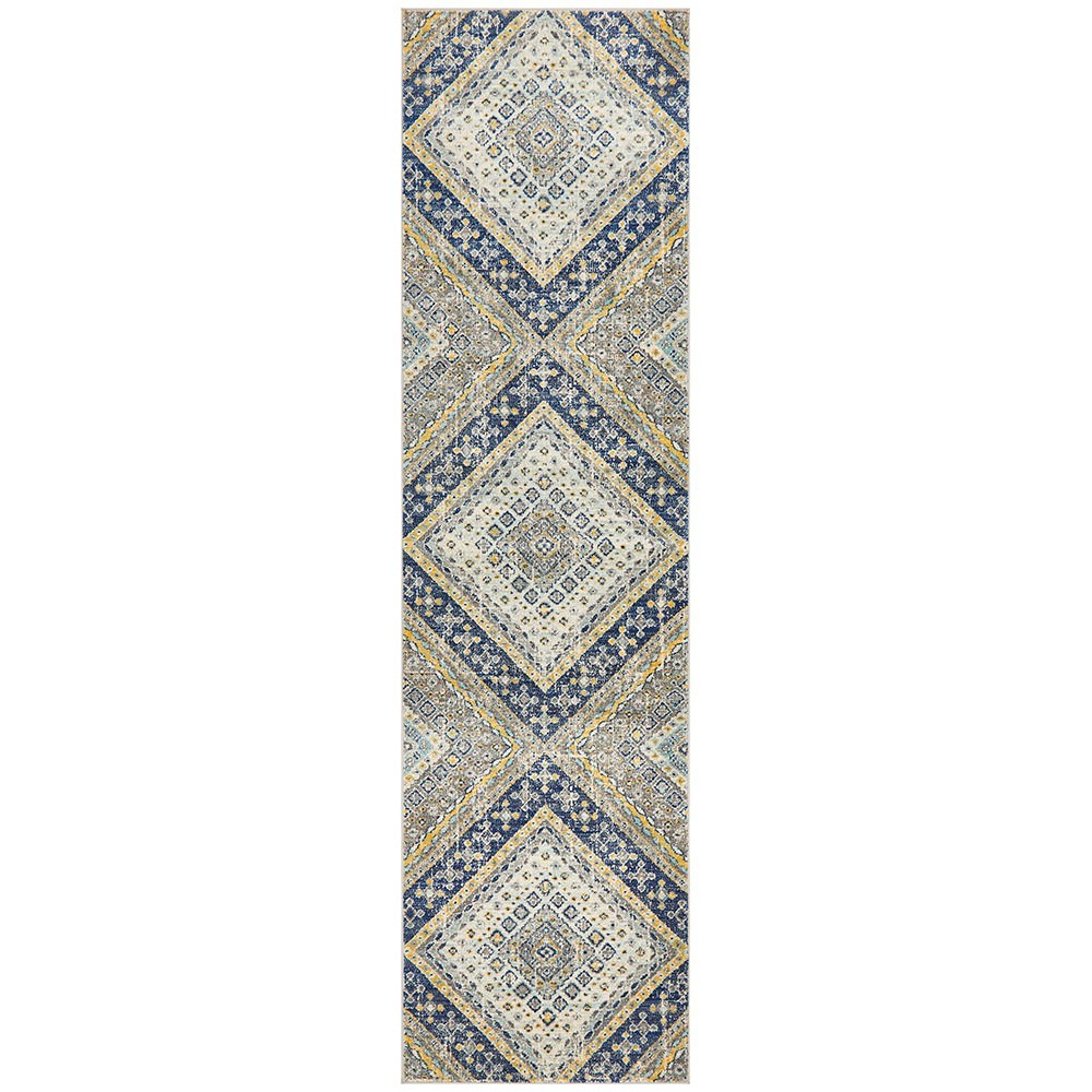 Babylon Diamond Bohemian Runner Rug, 80x400cm, Navy