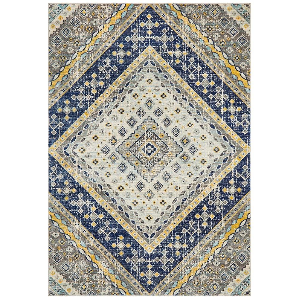 Babylon Diamond Bohemian Rug, 200x290cm, Navy