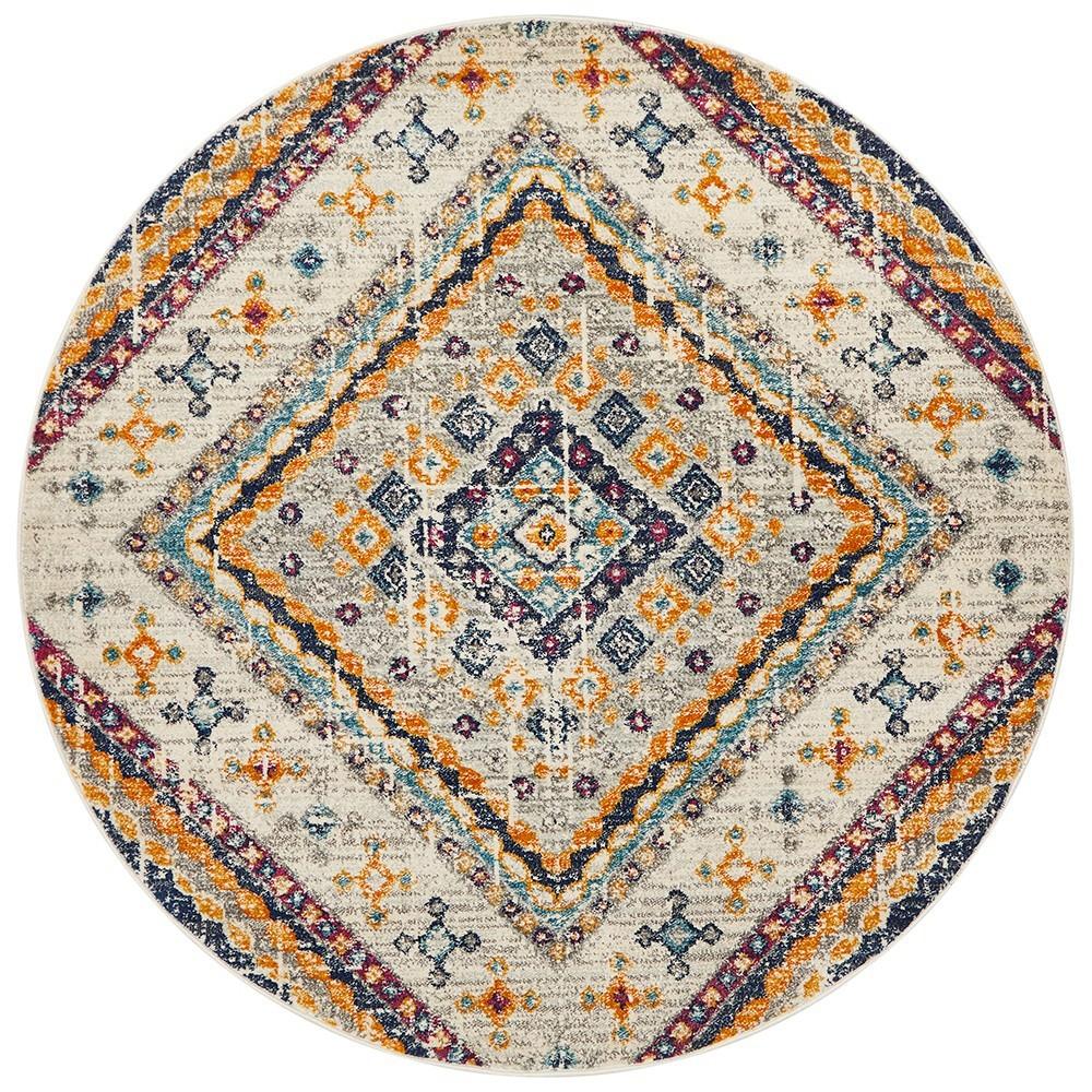 Babylon Diamond Bohemian Round Rug, 150cm, White