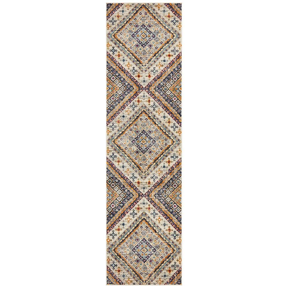 Babylon Diamond Bohemian Runner Rug, 80x500cm, White