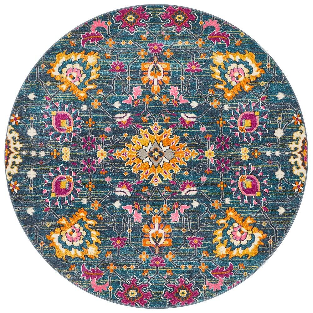 Babylon Viridis Bohemian Round Rug, 150cm, Blue