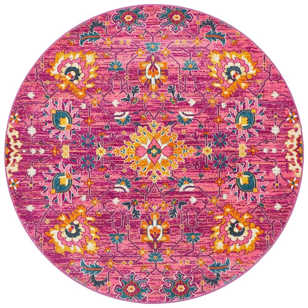 Babylon Viridis Bohemian Round Rug, 200cm, Fuchsia