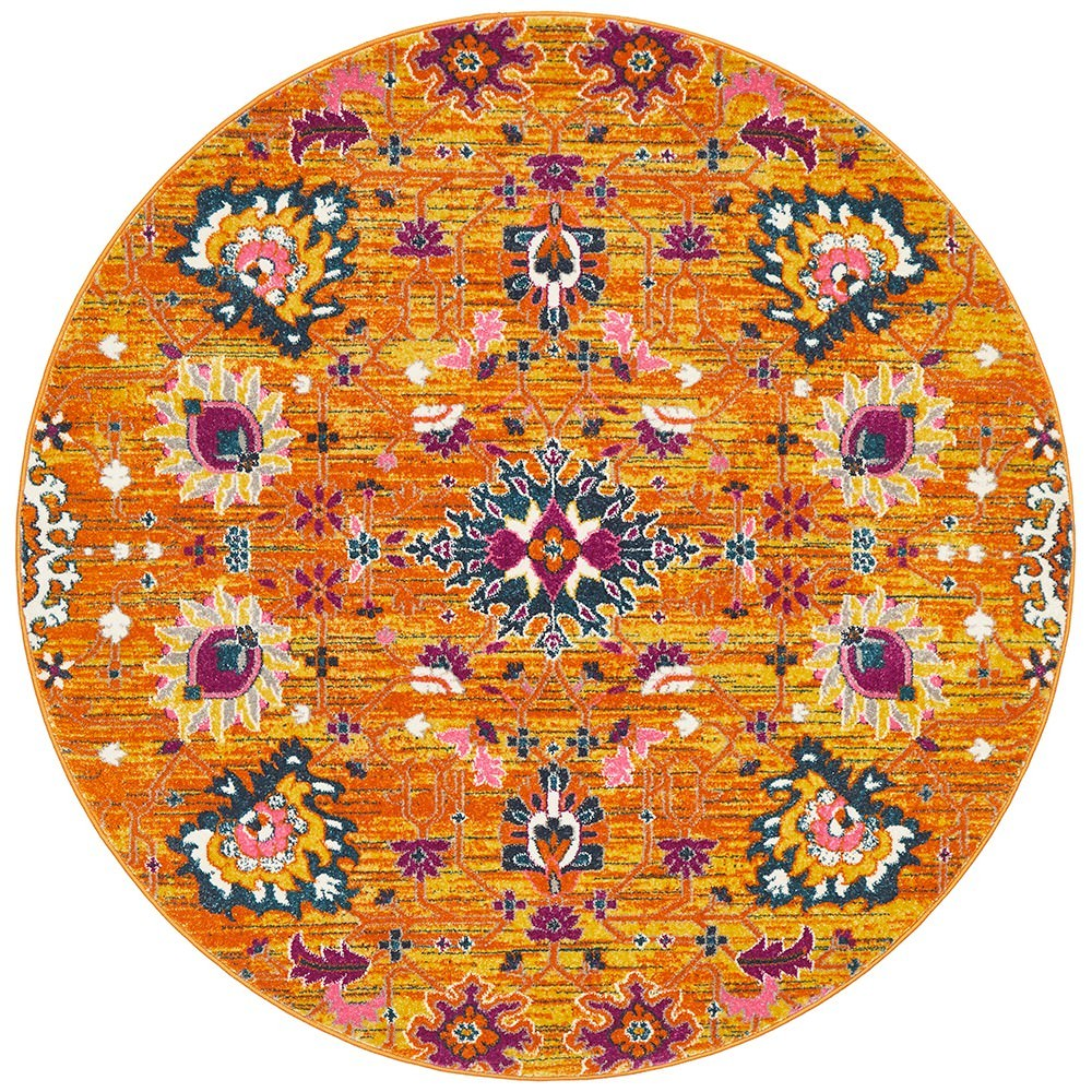 Babylon Viridis Bohemian Round Rug, 150cm, Rust